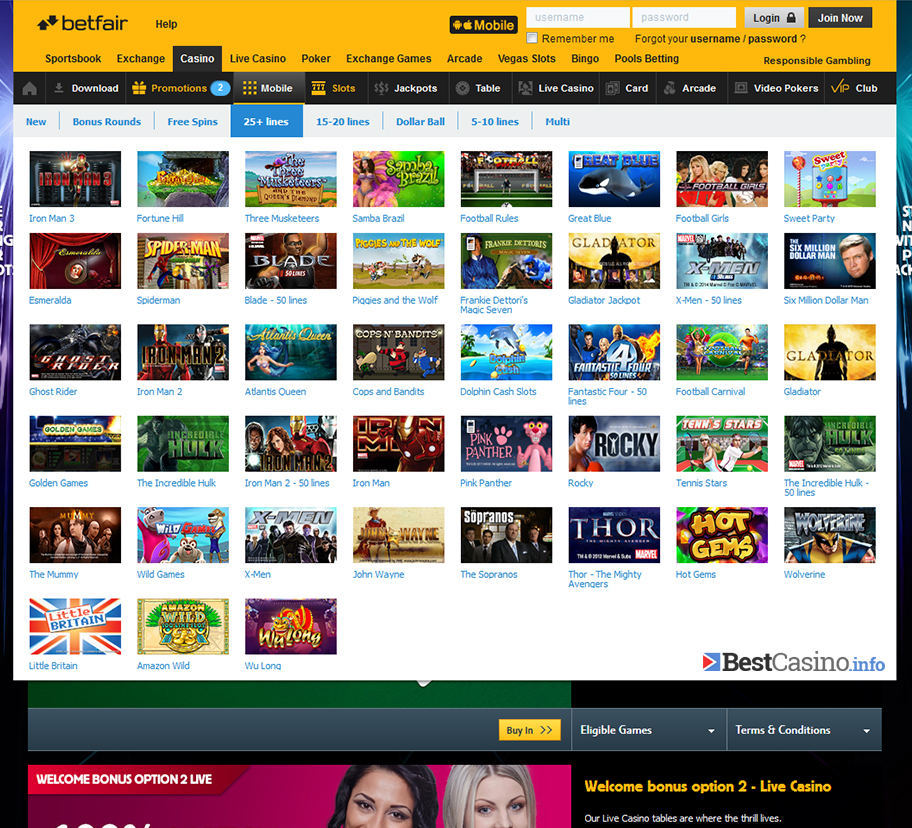 The extensively rich lobby of slot games at Betfair