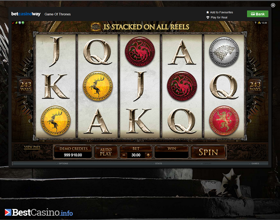 The new slot game offered at Betway: Game of Thrones