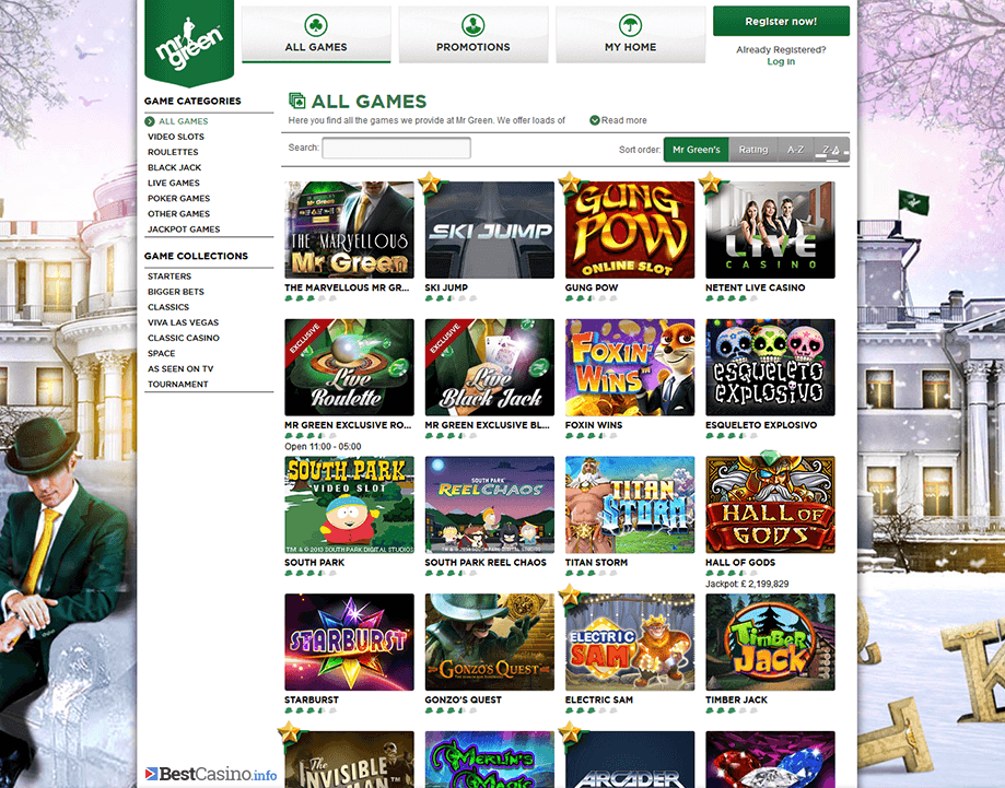 A great choice of games at Mr Green Casino