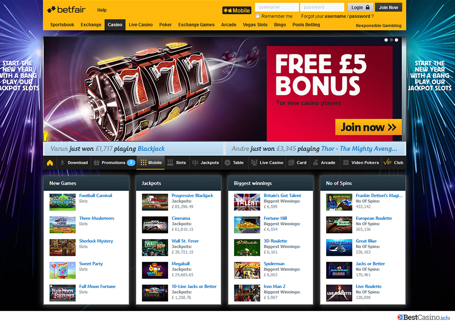 Betfair casino homepage showing one of the welcome bonuses
