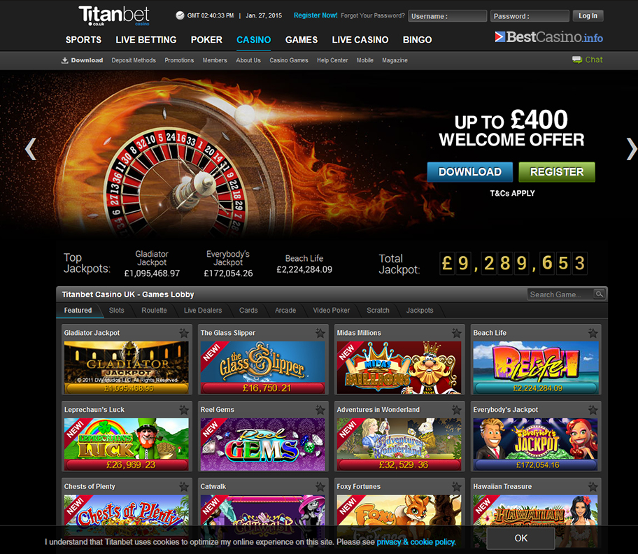 The home page of Titanbet