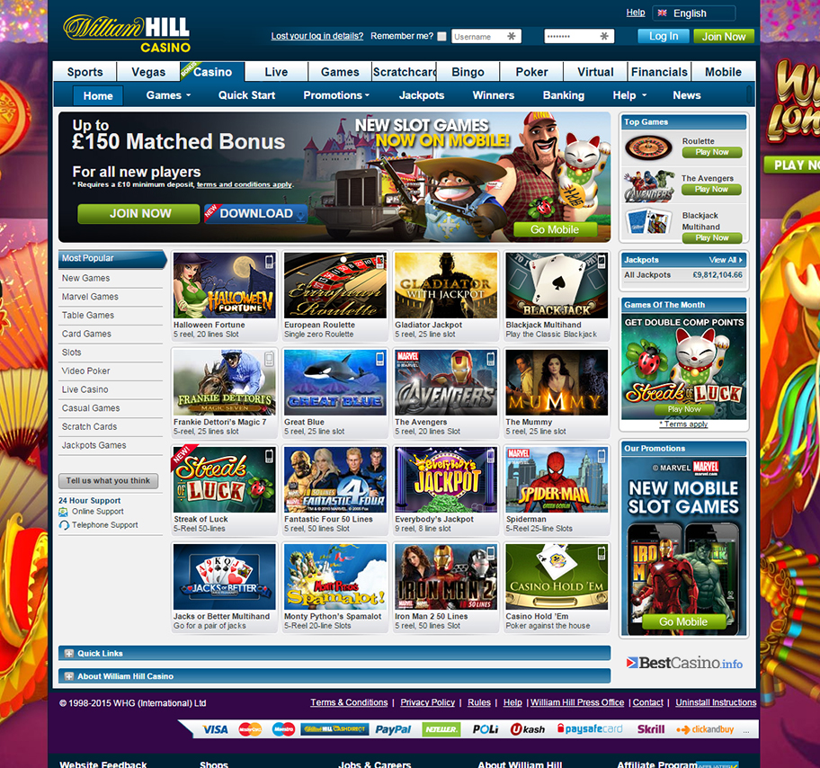 Landing page of the casino at William Hill online