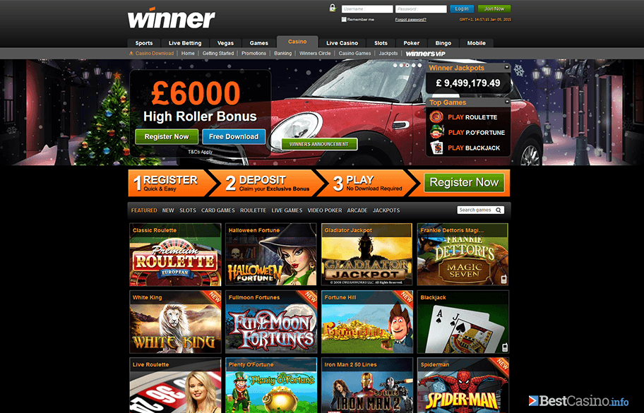 The home page of Winner Casino online