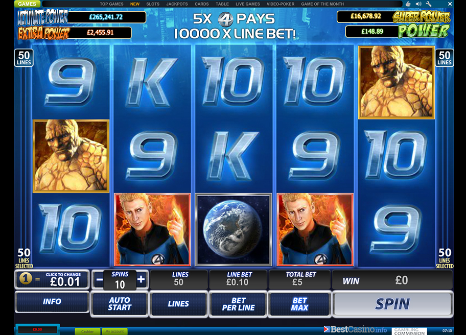 Preview of the gamers favourite 50 line Fantastic 4 slot