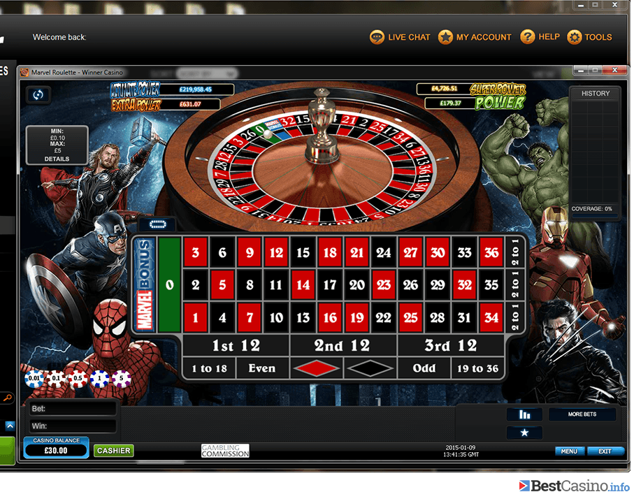 Marvel Roulette at Winner Casino: a great favourite of players