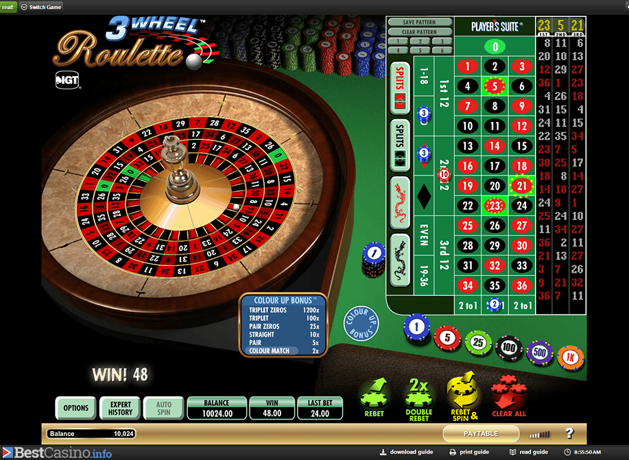 Three-wheel roulette game at NetBet