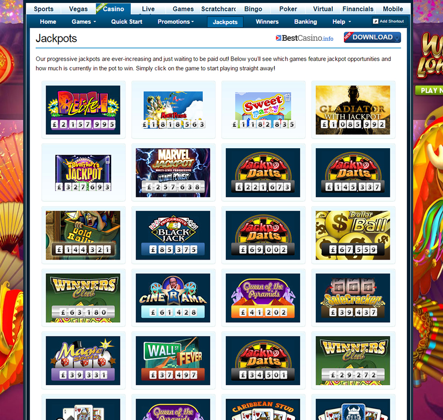 The numerous jackpot games offered at William Hill casino