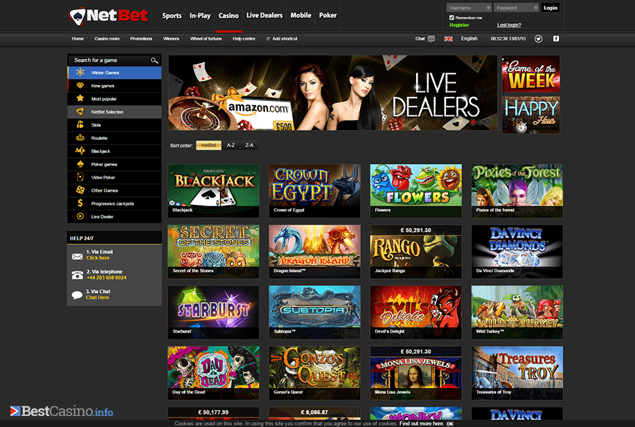 Overview of the rich game selection at NetBet
